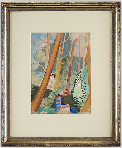 Isaac grÜnewald, watercolor, signed, 1920.