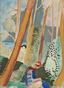 ISAAC GRÜNEWALD, watercolor, signed, 1920.