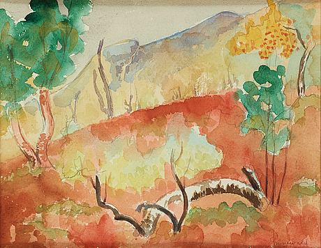 Isaac grünewald, watercolor, signed.