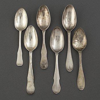 SKEDAR 6 st, silver. 1700/1800-tal. Bl a CF Seseman, Arboga 1799.