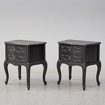 BEDSIDE TABLES, a pair, rococo-style, second half of the 20th century.
