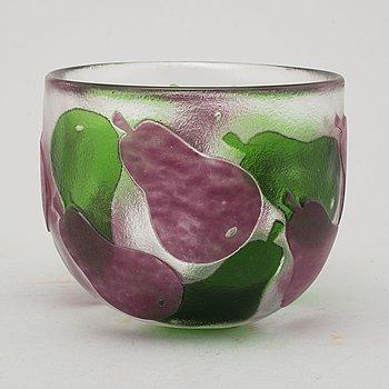 PAUL HOFF, a glass bowl, Kosta, signed.