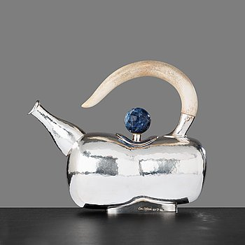 15. Olle Ohlsson, a silver teapot with a bone handle and a lapis lazuli knob to lid, Stockholm 1998.
