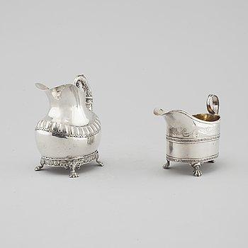 GRÄDDSNIPOR, två stycken, silver, första halvan av 1800-talet.