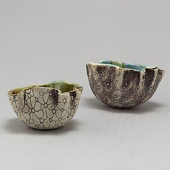 BENGT BERGLUND, two bowls, ceramics, Gustavsberg, 1960s.