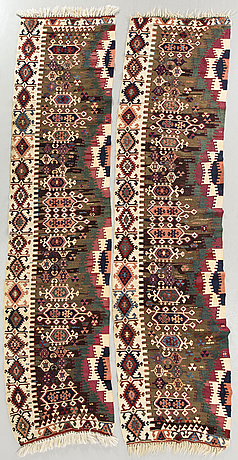 A pair of anatolia antique kilims ca 340 x 86 cm each