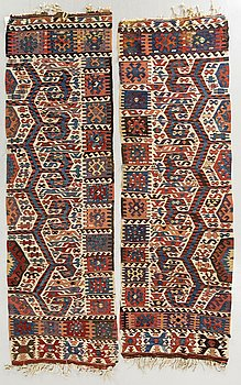 A pair of antique Karman Anatolia Kilims ca 277 x 87 and 261 x 84 cm.