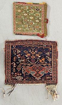 VÄSKA SAMT VÄSKFRONT Kashgai och Afshar semiantika ca 23 x 24 samt 33 x 37 cm.