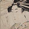 Utamaro kitagawa (c.1753 1806), color woodblock print. japan, 1801