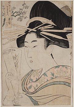 UTAMARO KITAGAWA (c.1753-1806), color woodblock print. Japan, 1801.