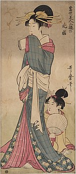 UTAMARO KITAGAWA (c.1753-1806), after, color woodblock print. Japan, 19th century.