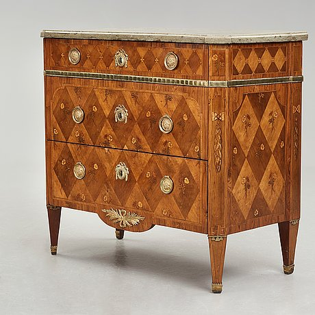 A gustavian late 18th century commode, by jonas hultsten (master in stockholm 1773-1794).