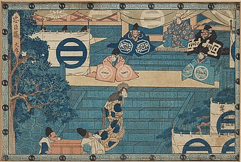 """UTAGAWA HIROSHIGE (1797-1858), after, color woodblock print. Japan, from """"The Storehouse of Loyal Retainers"""", 1835-39."""