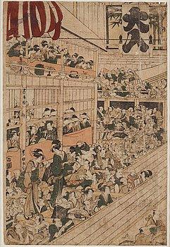 UTAGAWA TOYOKUNI I (1769-1825), after, color woodblock print. Japan, 19th century.