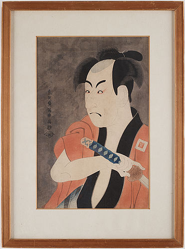 Toshusai sharaku (act.c.1794), after, color woodblock print. japan, 20th century.