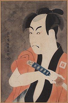 TOSHUSAI SHARAKU (act.c.1794), efter, färg träsnitt. Japan, 1900-tal.