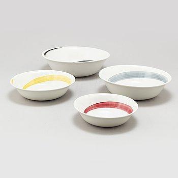 STIG LINDBERG, a set of 4 porcelain 'Cyklon' bowls, Gustavsberg 1950's.