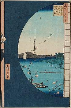 "UTAGAWA HIROSHIGE (1797-1858), after, woodblock print. Japan, ""Susaki Hen-yori Suijin no Mori, Uchikawa"" 19th century."