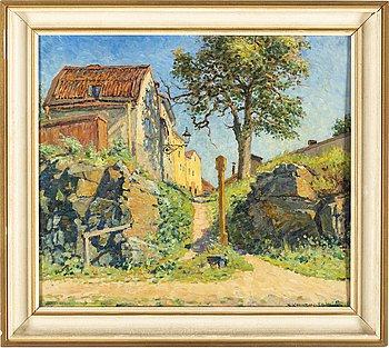 NILS KREUGER, olja på pannå, signerad N. Kreuger och daterad 2 juli 1924.