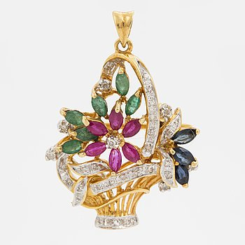 A brooch/pendant with emeralds, rubies, sapphires and diamonds.
