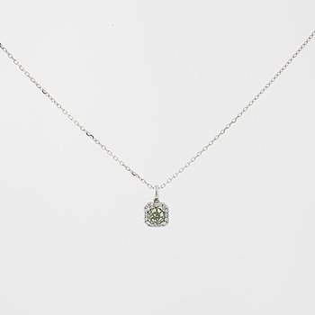 A synthetic green sapphire and brilliant cut diamond pendant.