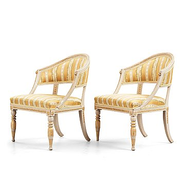 15. A pair of late Gustavian early 19th century armchairs.