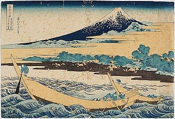 """KATSUSHIKA HOKUSAI (1760–1849), efter, färgträsnitt. Japan, """"Tago Bay"""", 1800-tal."""