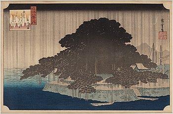 UTAGAWA HIROSHIGE (1797-1858), after, woodblock print. Japan, 'Night Rain at Karasaki', late 19th/early 20th century.