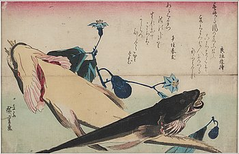 UTAGAWA HIROSHIGE (1797-1858), after, color woodblock print. Japan, from from 'Uozukushi', late 19th/early 20th century.