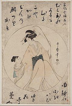 UTAMARO KITAGAWA (c.1753-1806), after, color woodblock print. Japan, 'Ebisu', 19th century.