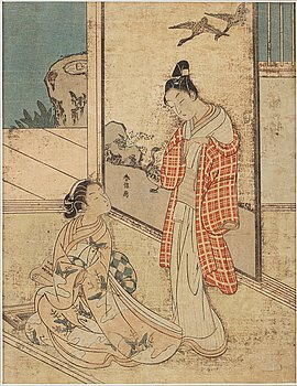 SUZUKI HARUNOBU (1724/25-70), after, color woodblock print. Japan, 19th century.