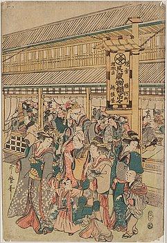 UTAMARO KITAGAWA (c.1753-1806), efter, färgträsnitt. Japan, 1800-tal.