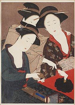 KATSUKAWA SHUNSHO (1726-1792), after, color woodblock print, Japan, early 20th century.