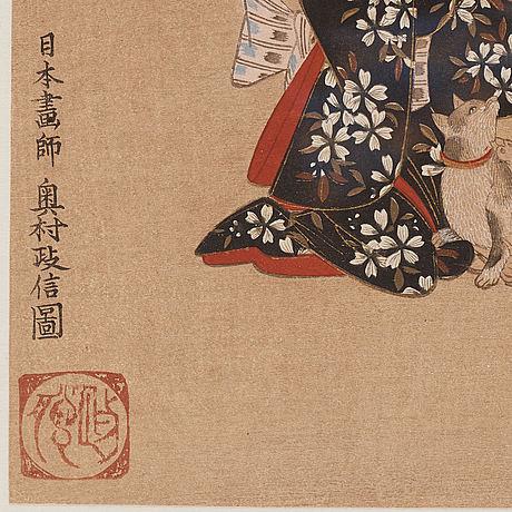 Okumura masanobu (1686 1764), after, two color woodblock prints. japan, ca 1900