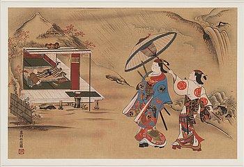 OKUMURA MASANOBU (1686-1764), efter, färgträsnitt, två stycken. Japan, omkring 1900.
