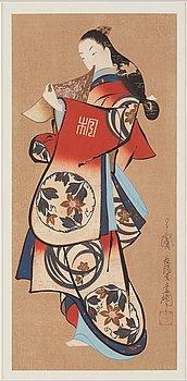 KAIGETSUDO (CHOYODO) ANCHI (act. 1711-36), efter, färgträsnitt. Japan, 1800-tal.