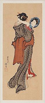 KATSUSHIKA HOKUSAI (1760–1849), after, color woodblock print. Japan, presumably 20th century.