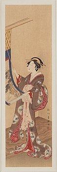 UTAGAWA TOYOHARU (1735–1814), efter, färgträsnitt. Japan, troligen 1900-tal.