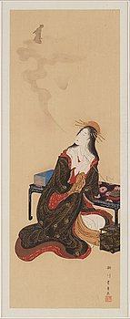 UTAGAWA TOYOHARU (1735–1814), after, color woodblock print. Japan, presumably 20th century.