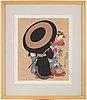 Kitao masanobu (1761-1816), efter, color woodblock print, japan, presumably 20th century.