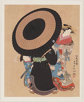 KITAO MASANOBU (1761-1816), efter, färgträsnitt. Japan, troligen 1900-tal.