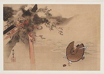 ITCHO HANABUSA (1652-1724), color woodblock print, Japan, 19th century.
