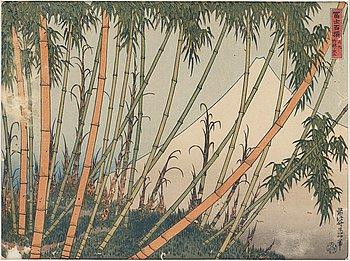 """KATSUSHIKA HOKUSAI (1760–1849), efter, färgträsnitt. Japan, """"Mount Fuji behind a bamboo grove"""", sent 1800-tal."""