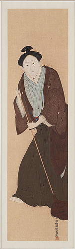 Isoda koryusai (1735 1790), efter, and unknown artist, color woodblock prints, japan, both presumably 20th century