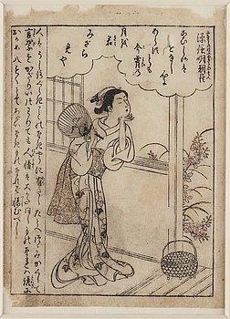 SUZUKI HARUNOBU (1725-1770), woodblock print from book. Japan, 18th century.