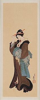 KATSUSHIKA HOKUSAI (1760–1849), efter, färgträsnitt. Japan, troligen 1900-tal.