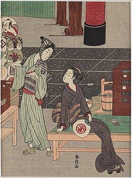 SUZUKI HARUNOBU (1724/25-70), efter, color woodblock print. Japan, presumably 20th century.