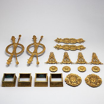 A set of 18 French gilt bronze fittings, circa 1870/80.