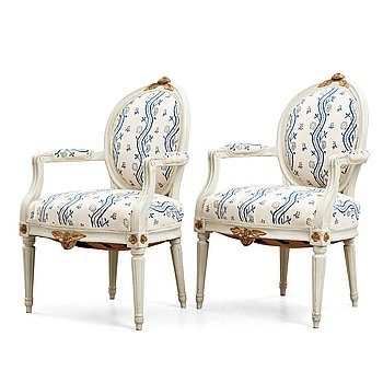 8. A pair of Gustavian 1780's armchairs by Jakob Malmsten (master in Stockholm 1780-1788).
