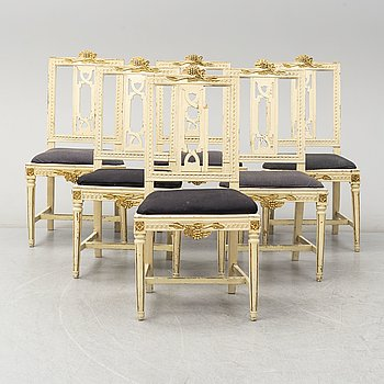 A set of six Gustavian chairs, circa 1800.